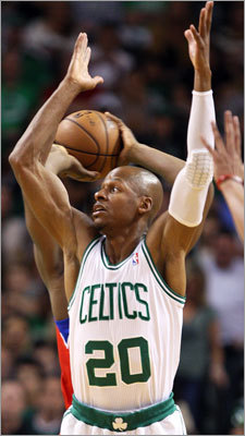 Ray Allen played some backward defense as the 76ers' Lavoy Allen looked for an open teammate behind him in the first half.