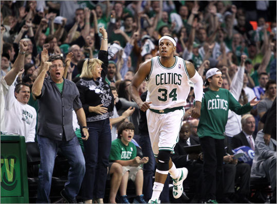 Paul Pierce had the TD Garden crowd on its feet in Game 1 of their second-round NBA playoff series vs the Philadelphia 76ers. The Celtics took a 1-0 lead in their best-of-7 series.