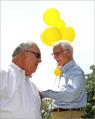 Mayor Thomas M. Menino and President Emeritus Henry Lee of the Friends of the Public Garden crossed paths on the stage during the festivities.