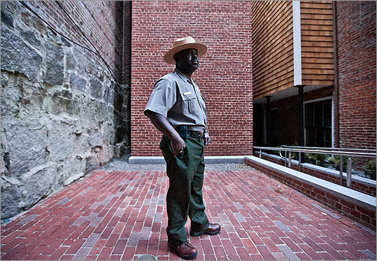 Parks superintendent Cassius Cash stood outside the African Meeting House, which was a hub of abolitionist activity.