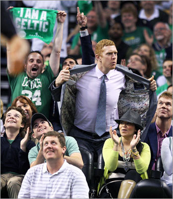Former Celtic Brian Scalabrine was cheered by the TD Garden fans when he was shown on the scoreboard during a timeout in the fourth quarter.