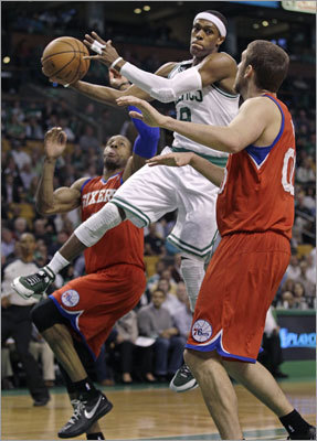 Celtics point guard Rajon Rondo was in the thick of the action early in Game 2 of the Celtics' second-round NBA playoff series vs. the Philadelphia 76ers on Monday at TD Garden.