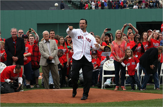 The Red Sox honored Wakefield with a 'Thanks, Wake,' day at Fenway Park in May of 2012. In addition to his family and many former teammates, Wakefield was joined by many of his 'Wakefield Warriors,' and presented with several gifts He also threw out the first pitch before the Red Sox played the Seattle Mariners.