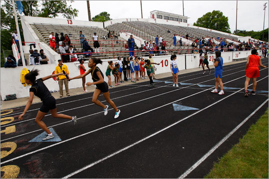 The running of the girls 4X400 relay at the city boys and girls track championships at White Stadium.