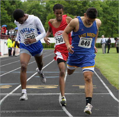 East Boston's Carlos Ruiz, No. 849, won the boys 800 finishing ahead of Charlestown's Ahmed Ibrahim, No. 790, and O'Bryant's Patrick Powell in the city boys and girls track championships at White Stadium.