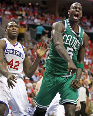 Kevin Garnett and the Celtics were on fire in Game 3 of their playoff series vs. the 76ers, and dominated the second half to take a 2-1 lead in their best-of-7 series. Game 4 is Friday in Philadelphia. Garnett scored 27 points to lead the Celtics.