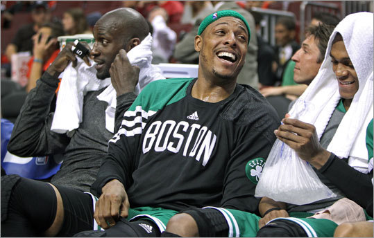 Kevin Garnett, Paul Pierce and Rajon Rondo had a good laugh at the expense of the 76ers. The three Celtics combined for 74 of Boston's 107 points.