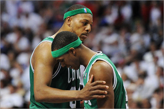 Pierce had a few words for guard Rajon Rondo in the second half.