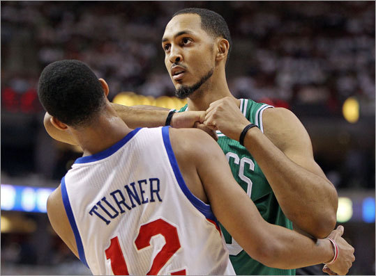 Ryan Hollins (right) and Evan Turner had a confrontation in the first half, and when a whistle blew Hollins kept his elbow near Turner's face for a few moments until Turner finally walked away. No punches were thrown and no fouls were called.