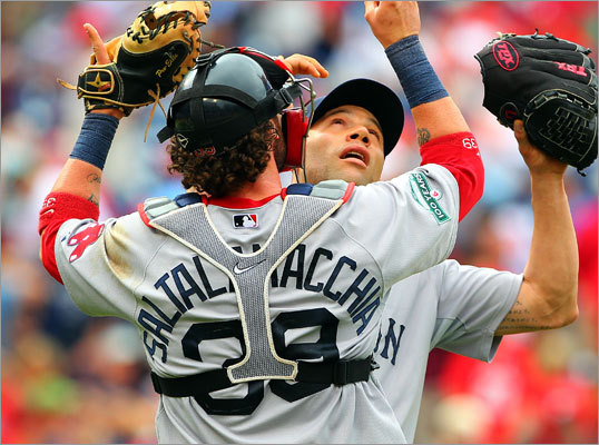Red Sox closer Alfredo Aceves (right) and catcher Jarrod Saltalamacchia embraced on the mound after Aceves recorded the final out of the game.