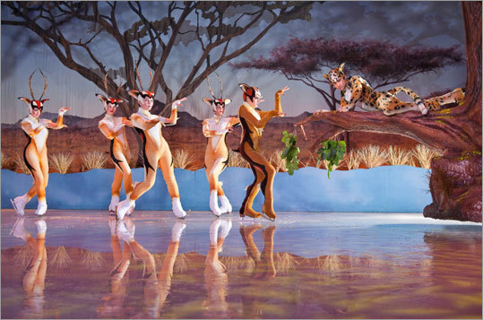 "Performers in a scene from ""Iceploration,"" a new, elaborate ice show at Busch Gardens in Tampa, Fla."