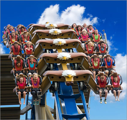 The Wild Eagle is a new, 210-foot tall coaster that opened in March at Dollywood in Pigeon Forge, Tenn.