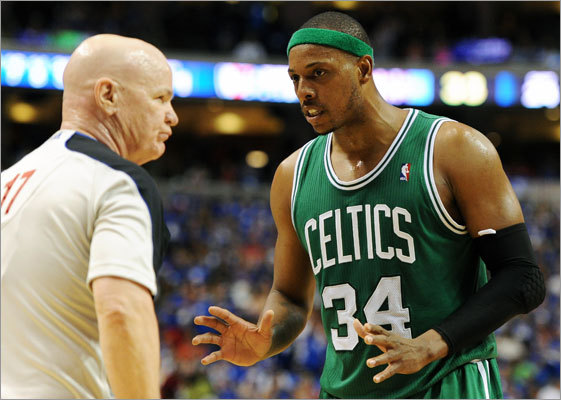 Paul Pierce discussed a call with referee Joe Crawford in the first half.