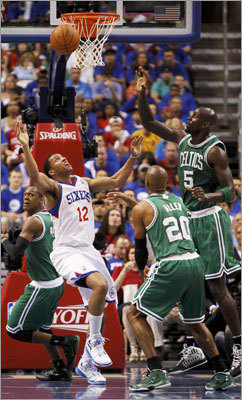 76ers guard Evan Turner (left) battled for a rebound with Celtics center Kevin Garnett and guard Ray Allen in the first half of Game 6 of their NBA Eastern Conference semifinal playoff series on Wednesday in Philadelphia. The Celtics took a 3-2 lead in the series into Game 6.