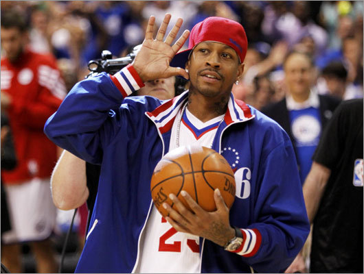 Former 76ers star Allen Iverson acknowledged cheers from the fans in Philadelphia as he brought out the game ball.