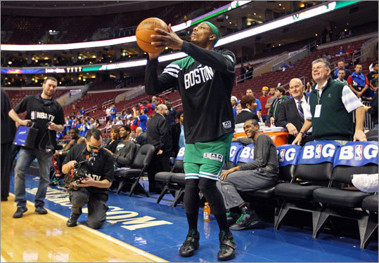 As he was leaving the court after getting loose before the game, Paul Pierce bet Rajon Rondo that he could hit a shot from out of bounds in front of the visitor's bench, and he did.