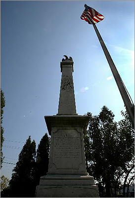 Civil War Union Square became a focal point for recruitment during the Civil War. In 1853, Somerville firefighters constructed a flagpole and Union Square was called 'Liberty Pole Square.' Pictured: Civil War marker in Milk Row Cemetery in Somerville.