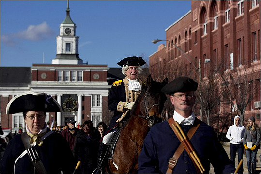 The unfurling of the Grand Union Flag is reenacted by the city of Somerville annually. Soldiers in the Civil War also set up camp on Prospect Hill. Pictured: Former Chief of Police Robert Bradley (dressed as George Washington) departed with the procession from City Hall to Prospect Hill in January 2012 for the 236th anniversary.