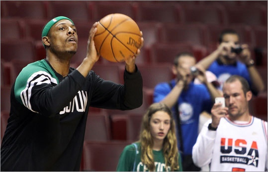 Fans took advantage of a Paul Pierce photo opportunity as he warmed up before the game.
