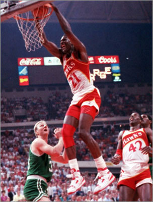 May 22, 1988: Celtics beat Hawks 118-116 in Boston Larry Bird, with 20 of his 34 points in the fourth quarter, outdueled Atlanta's Dominique Wilkins, who had 47 points. The Celtics never trailed in the final quarter, but were pushed to the max by the youthful Hawks. 'It took everything we had to beat them,' Bird said. The Celtics went on to the East finals, where they lost to the Pistons in 6 games. (Pictured: May 16, 1988 game)