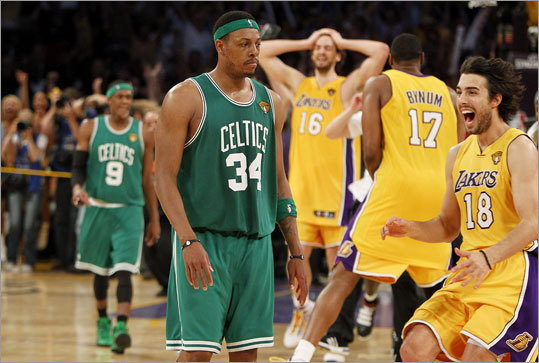 "June 17, 2010: Celtics lost to Lakers 83-79 in Los Angeles In the deciding game of the NBA finals, the Celtics were up by 13 points in the third quarter, but Lakers star Kobe Bryant led Los Angeles back with 10 of his 23 points in the fourth quarter. The Celtics drew within two, 81-79, when Rajon Rondo hit a 3-pointer with 16.2 seconds left, but the Celtics failed to score again. ""There was a lot of crying in our locker room, a lot of people who care,'' said Celtics coach Doc Rivers. ""I don't think there was a dry eye. A lot of hugs, a lot of people feeling awful. That's a good thing. You know, that means everybody cared."""