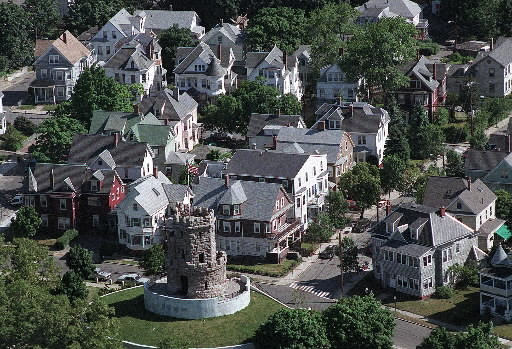 Prospect Hill Somerville is known as the 'City of Hills,' and Prospect Hill is the town's most historically important mound. As Union Square was being developed, families moved near Prospect Hill because of its panoramic views. The area has distinct architectural flourishes with columned porches and stained glass windows on many buildings. The granite structure atop the hill was dedicated in 1903 in memory of the hill's significance in the Revolution and the Civil War.