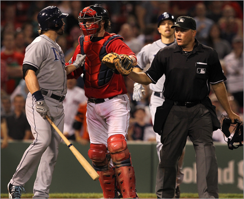 May 25, 2012 After Rays pitcher Burke Badenhop hit Dustin Pedroia in the lower back in the sixth inning, Red Sox reliever Franklin Morales drilled Luke Scott in the leg in the ninth. Both benches cleared, but no punches were thrown. 'A guy got hit in the leg and boys will be boys,' Red Sox manager Bobby Valentine said. Rays manager Joe Maddon took issue with the beaning. 'Quite frankly I think it was ridiculous, and I think it's absurd, idiotic, I'll use all those different words.'