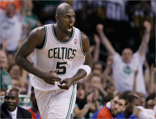 Kevin Garnett screamed after he scored during the fourth quarter.