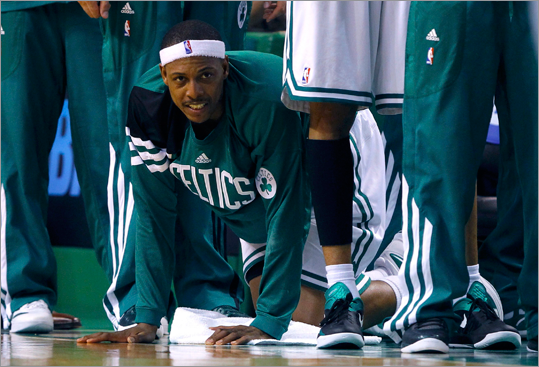Paul Pierce cheered on his teammates after fouling out against the 76ers in the fourth quarter.