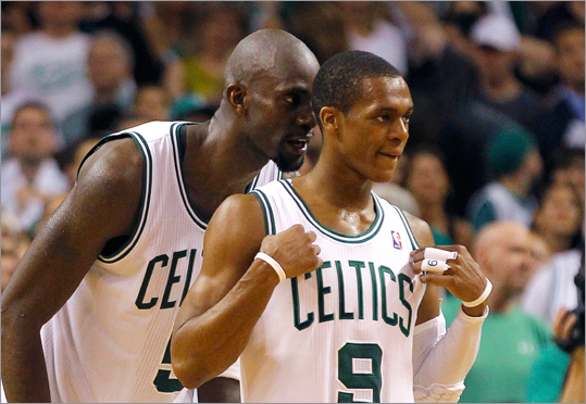 Kevin Garnett talked to to teammate Rajon Rondo during the fourth quarter. Rondo had 11 points in the final 3:39.