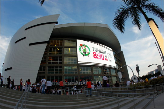 A general exterior view of the arena as fans made their way inside to watch the Heat host the Celtics.