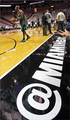 Mickael Pietrus worked on his shooting before Game 1 in which the Celtics are playing '@Miami.'