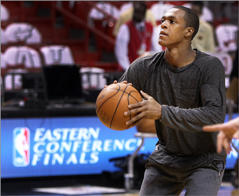 Celtics point guard Rajon Rondo worked on his shooting before Game 1 of the Eastern Conference Finals against the Heat.