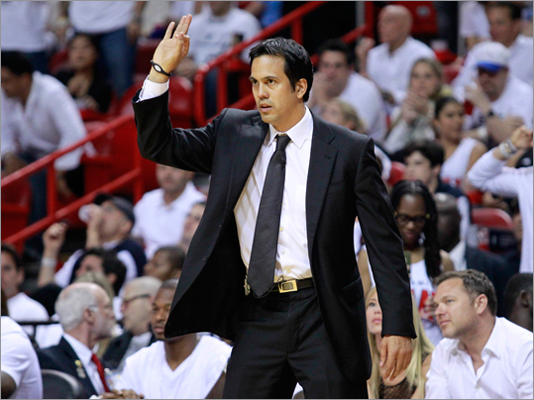Heat head coach Erik Spoelstra directed his team's play in the third quarter.