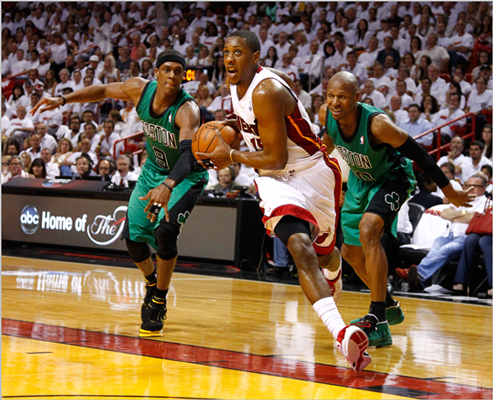Mario Chalmers drove in the second half past Rajon Rondo and Ray Allen.