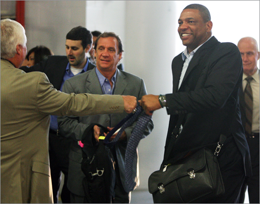 Celtics head coach Doc Rivers bumped fists with someone he knows as he arrives at the arena for tonight's game.