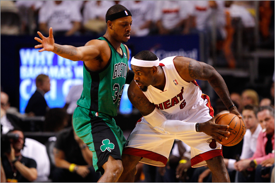 LeBron James looked to pass the ball in the first quarter against Paul Pierce.