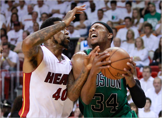 Udonis Haslem fouled Paul Pierce in the third quarter.