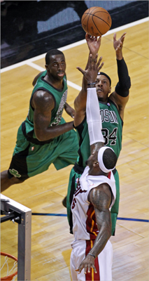 Paul Pierce shot over LeBron James in the first half.