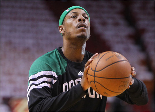 Paul Pierce worked on his shooting during pregame warm ups, as the Celtics look to even the Eastern Conference Finals after dropping Game 1 Monday.