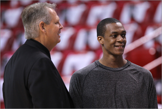 Celtics President of Basketball Operations Danny Ainge chatted with Celtics point guard Rajon Rondo during pregame warm ups.