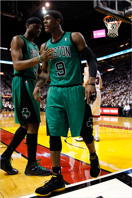 Rajon Rondo reacted along with teammate Keyon Dooling during his huge first half. He finished with 22 points, 7 assists and 4 rebounds.