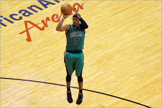 Celtics point guard Rajon Rondo delivered a brilliant performance against the Heat in Game 2 of the 2012 Eastern Conference Finals, scoring 44 points and nailing 3-pointer after 3-pointer in overtime to keep the Celtics within striking range until the very end. He also played every minute of the game, but the Celtics lost and fell behind 2-0 in the series. Scroll through the gallery to see other great individual Celtics playoff performances through the years.