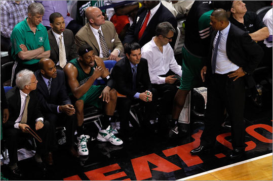 One last example conspiracy theorists have pounced on: In Game 2, the Celtics had three players foul out, including Pierce (at left on bench after being disqualified). Mickael Pietrus and Keyon Dooling also were called for six fouls. The Heat did not have any players foul out.