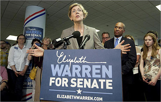 Governor Deval Patrick (right) endorsed Elizabeth Warren's Senate candidacy at a campaign event on Wednesday.