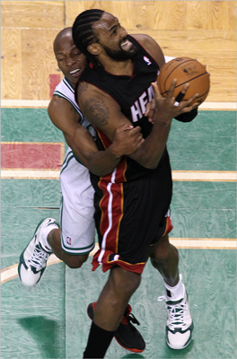 Celtics shooting guard Ray Allen fouled Heat center Ronny Turiaf during the first quarter.
