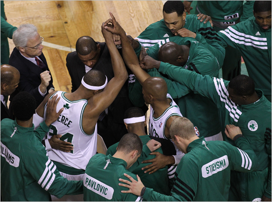 Celtics small forward Paul Pierce (34) and teammates huddled up at the start of Game 3.