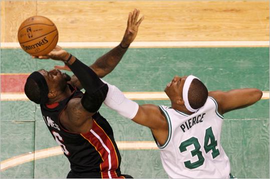 Paul Pierce guarded LeBron James during the first quarter.