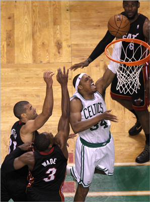 Paul Pierce got the layup and was fouled in the process on this play in the third quarter.