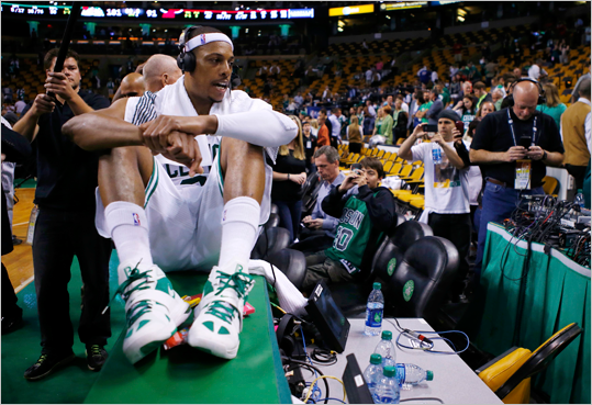 Paul Pierce gave an interview after the Celtics defeated the Heat, 101-91, at TD Garden.